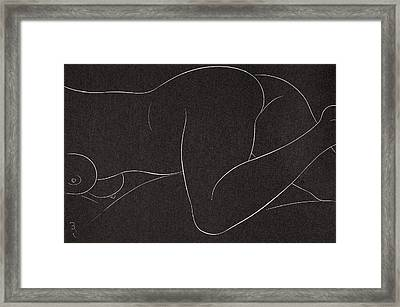 Female Nude Lying Framed Print by Eric Gill