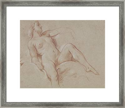 Female Nude On A Dolphin Framed Print by Francois Boucher