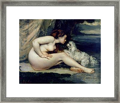 Female Nude With A Dog Framed Print by Gustave Courbet