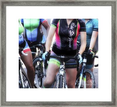 Femmes On Bikes  Framed Print by Steven Digman