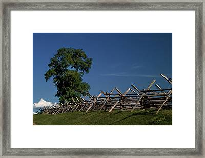 Fenceline At Bloody Lane Framed Print by Judi Quelland