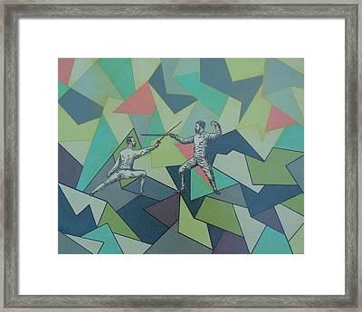 Fencing Fellows Framed Print by Ramey Guerra