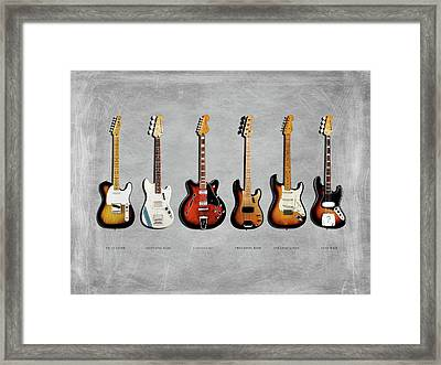 Fender Guitar Collection Framed Print by Mark Rogan