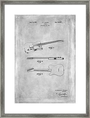 Fender Guitar Patent From 1951 Framed Print by Mark Rogan