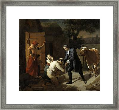 Fenelon Returns A Stolen Cow To A Peasant Framed Print by Louis Hersent