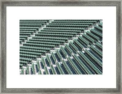 Fenway Park Green Bleachers Framed Print by Susan Candelario