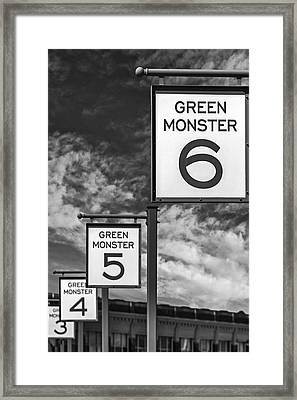 Fenway Park Green Monster Section Signs Bw Framed Print by Susan Candelario