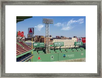 Fenway Park Green Monster Wall Framed Print by Susan Candelario