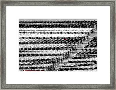 Fenway Park Red Chair Number 21 Bw Framed Print by Susan Candelario