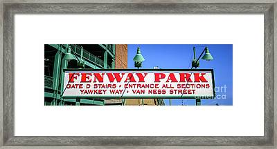 Fenway Park Sign Gate D Entrance Panorama Photo Framed Print by Paul Velgos