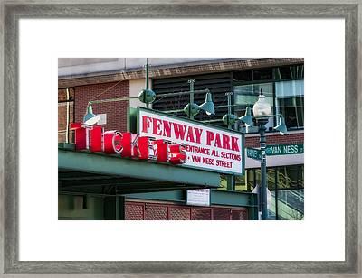 Fenway Park Tickets Framed Print by Susan Candelario