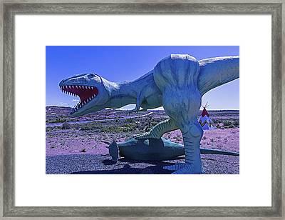 Ferious Dinosaur Trex Framed Print by Garry Gay