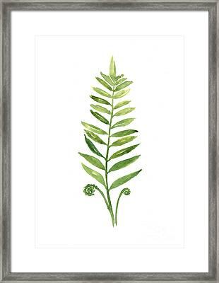 Fern Leaf Watercolor Painting Framed Print by Joanna Szmerdt