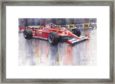 Ferrari 126c 1981 Monte Carlo Gp Gilles Villeneuve Framed Print by Yuriy  Shevchuk