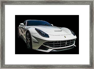 Ferrari F12 Berlinetta In White Framed Print by Samuel Sheats