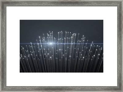 Fiber Optics Close Framed Print by Allan Swart