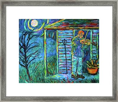 Fiddling At Midnight's Farm House Framed Print by Kendall Kessler