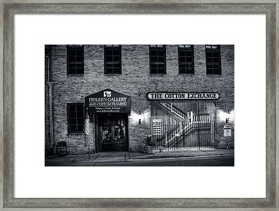 Fidlers Gallery And The Cotton Exchange In Black And White Framed Print by Greg Mimbs