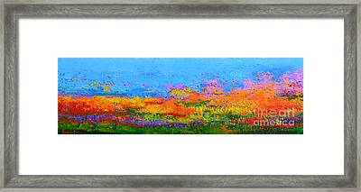 Abstract Field Of Flowers Modern Impressionist Art Palette Knife Framed Print by Patricia Awapara