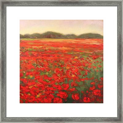 Field Of Poppies Landscape Framed Print by Robie Benve