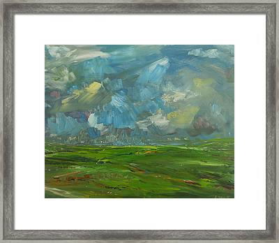 Fields And Clouds County Clare Framed Print by Eamon Doyle