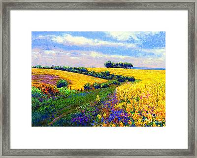 Fields Of Gold Framed Print by Jane Small