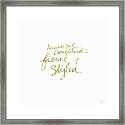 Fierce And Styled Gold- Art By Linda Woods Framed Print by Linda Woods