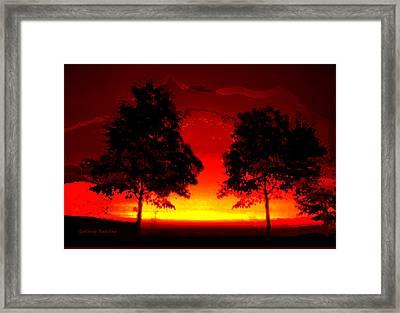 Fiery Sundown Framed Print by Gerlinde Keating - Galleria GK Keating Associates Inc