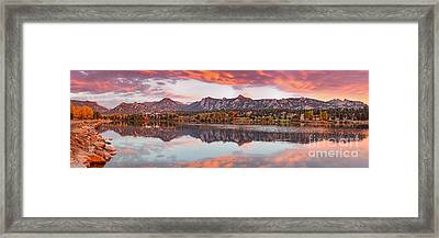 Fiery Sunrise And Alpenglow Over Estes Park - Rocky Mountain National Park Estes Park Colorado Framed Print by Silvio Ligutti