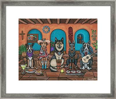 Fiesta Dogs Framed Print by Victoria De Almeida