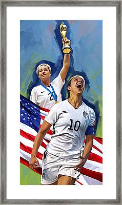 Fifa World Cup U.s Women Soccer Carli Lloyd Abby Wambach Artwork Framed Print by Sheraz A
