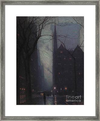 Fifth Avenue At Twilight Framed Print by Lowell Birge Harrison