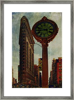 Fifth Avenue Clock And The Flatiron Building Framed Print by Chris Lord