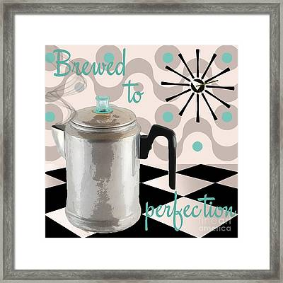 Fifties Kitchen Coffee Pot Perk Coffee Framed Print by Mindy Sommers