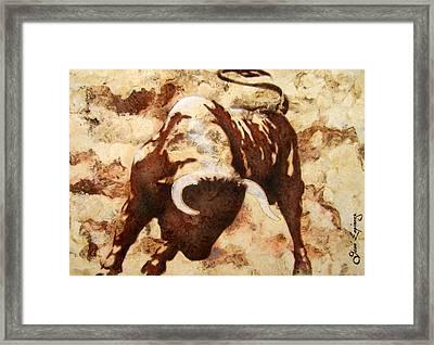 Fight Bull Framed Print by Jose Espinoza