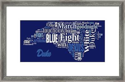 Fight Fight Blue Devils Framed Print by Paulette B Wright