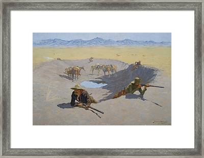 Fight For The Waterhole Framed Print by Frederic Remington