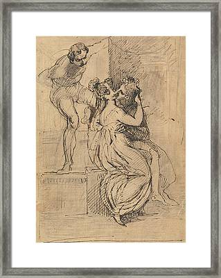 Figure Leaning Over Stairs Framed Print by Henry Fuseli