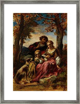 Figures And A Dog In A Landscape Framed Print by Narcisse Virgile Diaz de la Peria