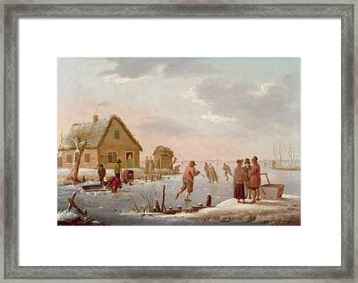 Figures Skating In A Winter Landscape Framed Print by Hendrik Willem Schweickardt