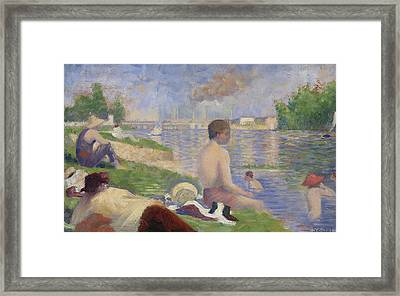 Final Study For Bathers At Asnieres Framed Print by Georges Pierre Seurat