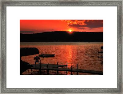 Finger Lakes New York Sunset By The Dock 02 Framed Print by Thomas Woolworth