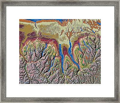 Finger Lakes Of New York Contour Map Framed Print by Paul Hein