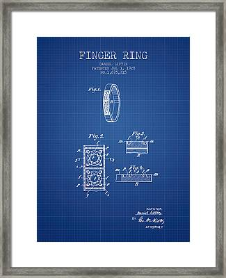 Finger Ring Patent From 1928 - Blueprint Framed Print by Aged Pixel