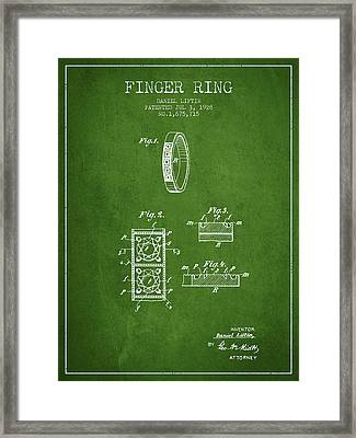 Finger Ring Patent From 1928 - Green Framed Print by Aged Pixel