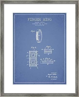 Finger Ring Patent From 1928 - Light Blue Framed Print by Aged Pixel