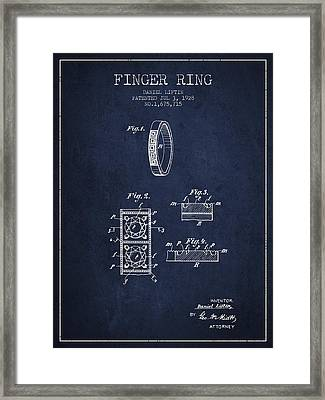 Finger Ring Patent From 1928 - Navy Blue Framed Print by Aged Pixel