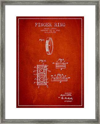 Finger Ring Patent From 1928 - Red Framed Print by Aged Pixel