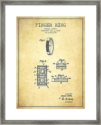 Finger Ring Patent From 1928 - Vintage Framed Print by Aged Pixel