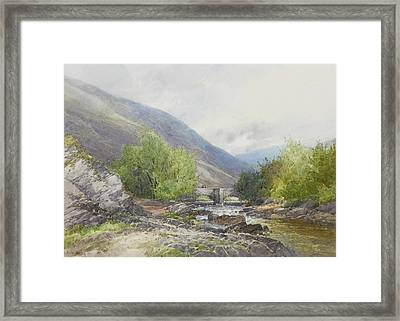 Fingle Bridge On The Teign Framed Print by Frederick John Widgery